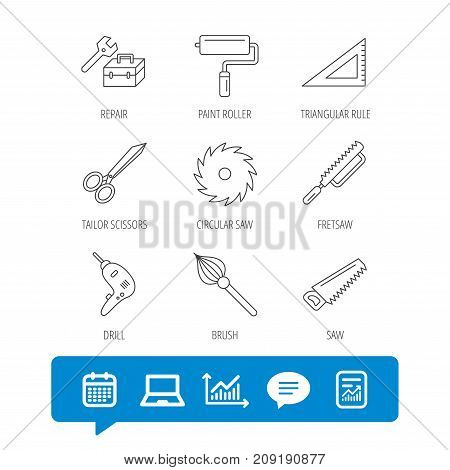 Scissors, paint roller and repair tools icons. Fretsaw, circular saw and brush linear signs. Triangular rule, drill icons. Report file, Graph chart and Chat speech bubble signs. Vector