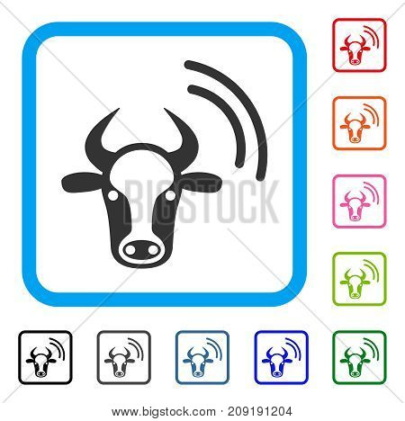 Cow Radio Signal icon. Flat grey pictogram symbol inside a light blue rounded frame. Black, gray, green, blue, red, orange color versions of Cow Radio Signal vector.