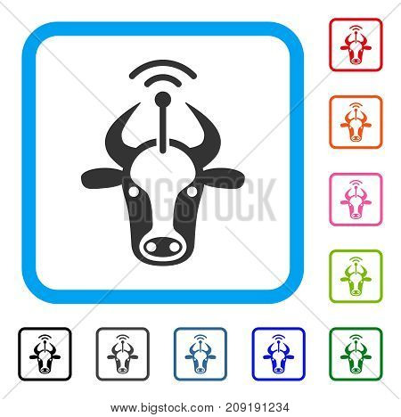 Cow Radio Transmitter icon. Flat grey iconic symbol inside a light blue rounded squared frame. Black, gray, green, blue, red, orange color additional versions of Cow Radio Transmitter vector.