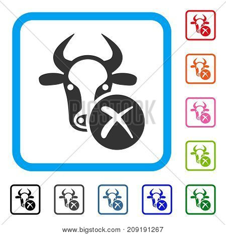 Cow Reject icon. Flat gray iconic symbol in a light blue rounded rectangle. Black, gray, green, blue, red, orange color versions of Cow Reject vector. Designed for web and app user interface.
