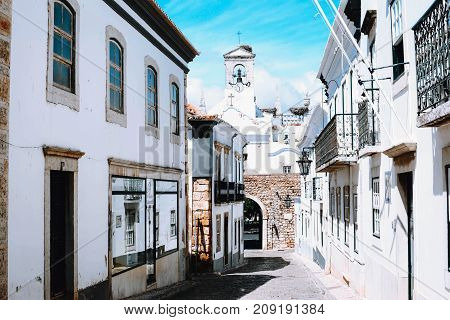 Beautiful architecture old town in Faro, Algarve, Portugal.