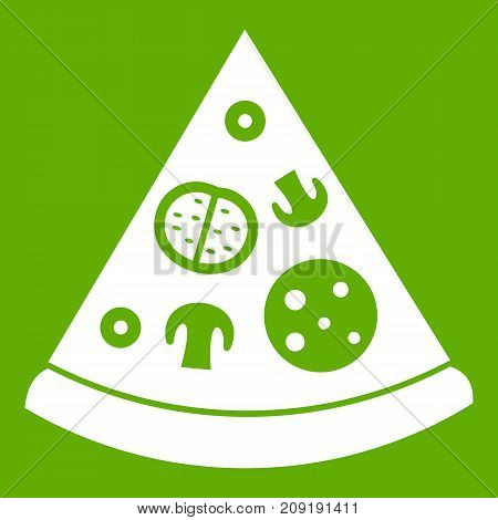 Slice of pizza in simple style isolated vector illustration