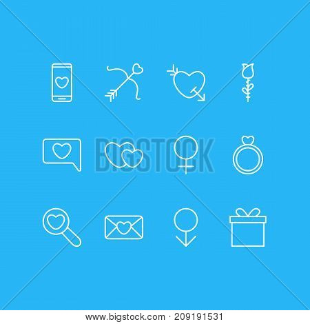 Editable Pack Of Gift, Male, Arrow And Other Elements.  Vector Illustration Of 12 Passion Icons.