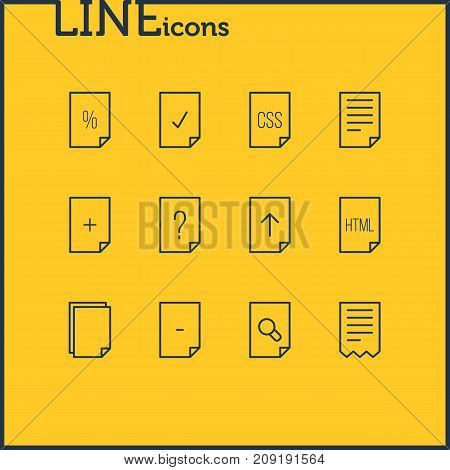 Editable Pack Of Style, Copy, Code And Other Elements.  Vector Illustration Of 12 Page Icons.
