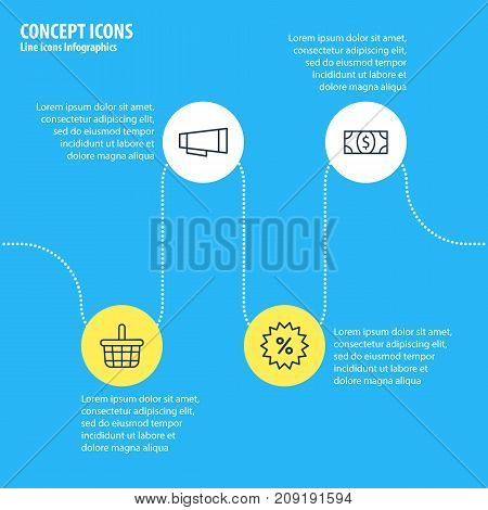 Editable Pack Of Pottle, Advertising, Sales And Other Elements.  Vector Illustration Of 4 Commerce Icons.