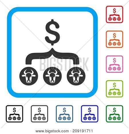 Cows Result Dollar icon. Flat gray iconic symbol in a light blue rounded frame. Black, gray, green, blue, red, orange color variants of Cows Result Dollar vector. Designed for web and app interfaces.