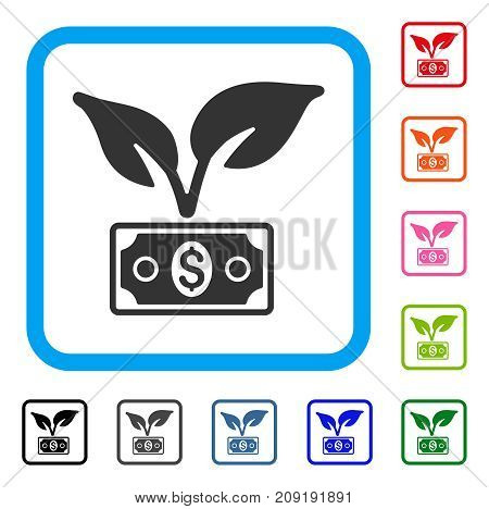 Eco Startup Gain icon. Flat grey iconic symbol inside a light blue rounded rectangle. Black, gray, green, blue, red, orange color versions of Eco Startup Gain vector. Designed for web and app UI.