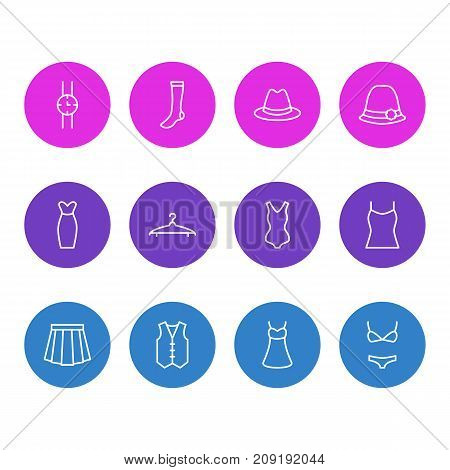Editable Pack Of Swimwear, Singlet, Hand Clock Elements.  Vector Illustration Of 12 Clothes Icons.