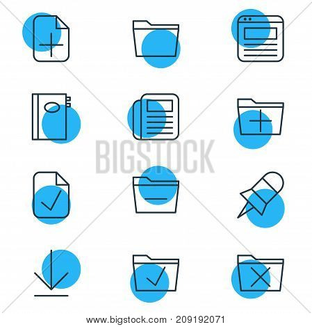 Editable Pack Of Journal, Book, Downloading And Other Elements.  Vector Illustration Of 12 Office Icons.
