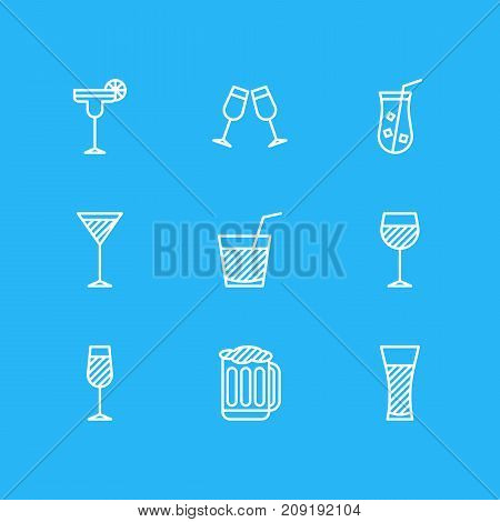 Editable Pack Of Wineglass, Draught, Juice And Other Elements.  Vector Illustration Of 9 Drinks Icons.