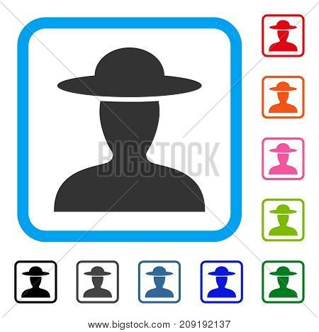 Farmer Person icon. Flat gray iconic symbol in a light blue rounded rectangular frame. Black, gray, green, blue, red, orange color versions of Farmer Person vector. Designed for web and app UI.