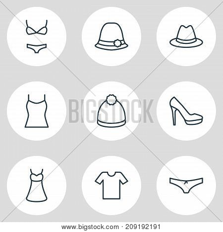 Editable Pack Of Casual, Panama, Panties And Other Elements.  Vector Illustration Of 9 Garment Icons.