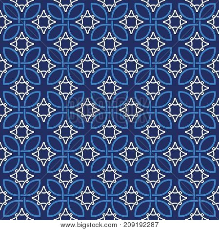 Seamless vintage pattern background in tones of blue