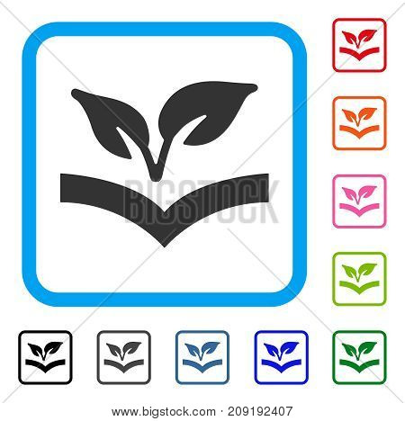Flora Knowledge icon. Flat grey pictogram symbol in a light blue rounded frame. Black, gray, green, blue, red, orange color versions of Flora Knowledge vector.