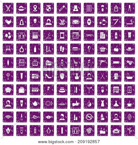 100 beauty salon icons set in grunge style purple color isolated on white background vector illustration