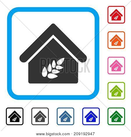 Grain Warehouse icon. Flat gray pictogram symbol in a light blue rounded squared frame. Black, gray, green, blue, red, orange color versions of Grain Warehouse vector.