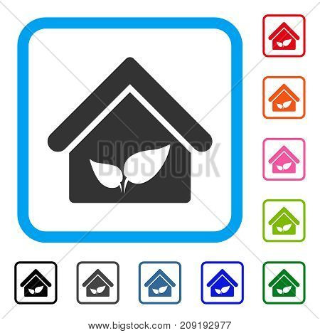Greenhouse icon. Flat grey iconic symbol in a light blue rounded rectangle. Black, gray, green, blue, red, orange color variants of Greenhouse vector. Designed for web and software UI.