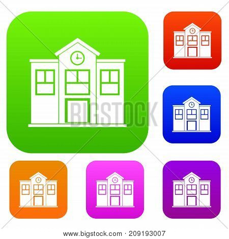 School set icon color in flat style isolated on white. Collection sings vector illustration