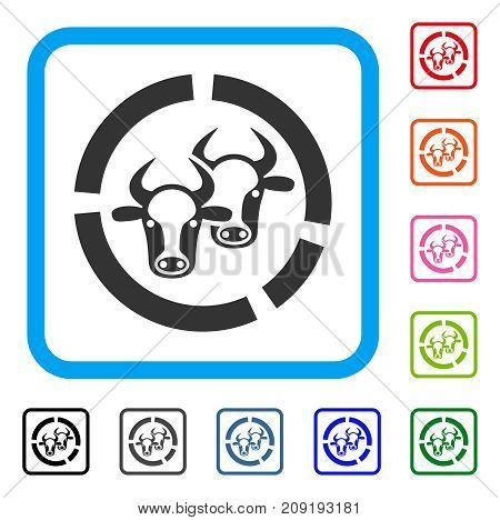 Livestock Diagram icon. Flat grey pictogram symbol inside a light blue rounded rectangle. Black, gray, green, blue, red, orange color variants of Livestock Diagram vector. Designed for web and app UI.
