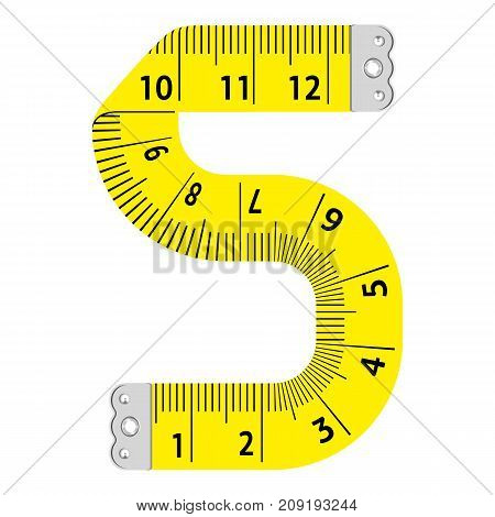 Number five ruler icon. Cartoon illustration of number five ruler vector icon for web