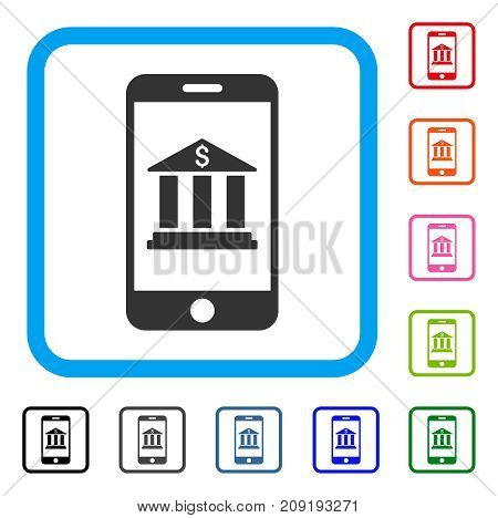 Mobile Bank icon. Flat gray pictogram symbol in a light blue rounded rectangle. Black, gray, green, blue, red, orange color variants of Mobile Bank vector. Designed for web and application interfaces.