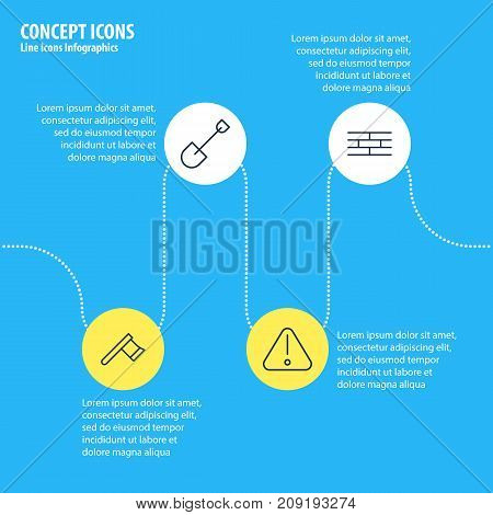 Editable Pack Of Barrier, Spade, Road Sign And Other Elements.  Vector Illustration Of 4 Structure Icons.
