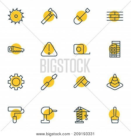 Editable Pack Of Roller, Lifting, Handle Hit Elements.  Vector Illustration Of 16 Industry Icons.