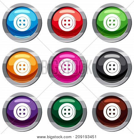 Sewing button set icon isolated on white. 9 icon collection vector illustration