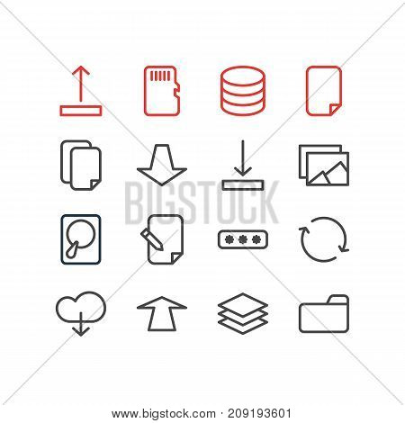 Editable Pack Of Gallery, Documents, Dossier And Other Elements.  Vector Illustration Of 16 Storage Icons.
