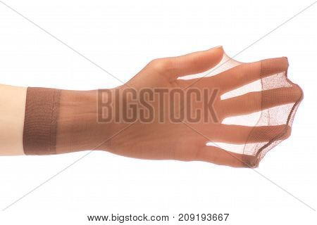 Female hands with nylon socks den on a white background isolation