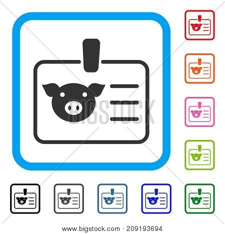 Pig Badge icon. Flat grey iconic symbol in a light blue rounded frame. Black, gray, green, blue, red, orange color versions of Pig Badge vector. Designed for web and application UI.