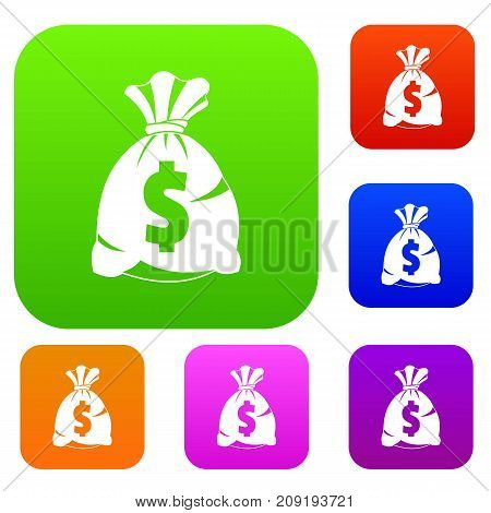Money bag with US dollar sign set icon color in flat style isolated on white. Collection sings vector illustration