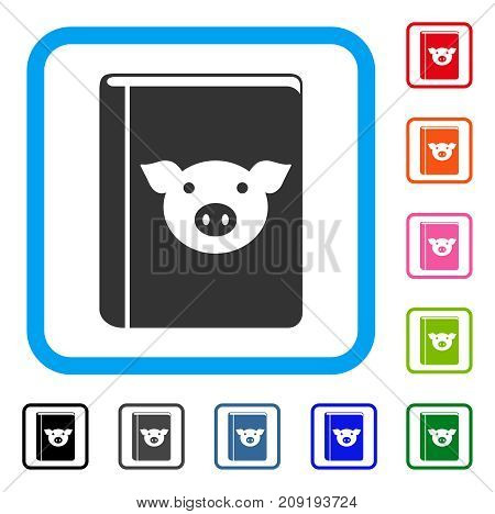 Pig Book icon. Flat gray iconic symbol inside a light blue rounded squared frame. Black, gray, green, blue, red, orange color variants of Pig Book vector. Designed for web and software interfaces.