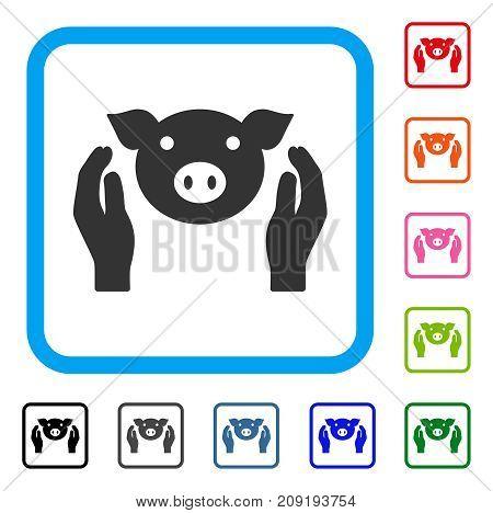 Pig Care Hands icon. Flat grey pictogram symbol inside a light blue rounded frame. Black, gray, green, blue, red, orange color additional versions of Pig Care Hands vector.