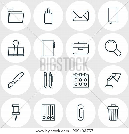 Editable Pack Of Zoom, Adhesive, Date And Other Elements.  Vector Illustration Of 16 Tools Icons.