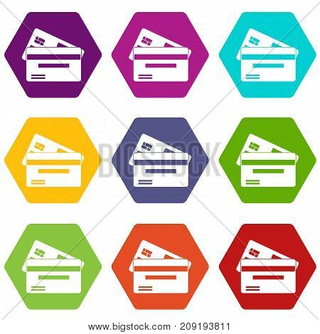 Credit card icon set many color hexahedron isolated on white vector illustration