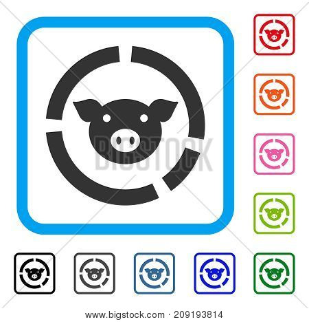 Pig Diagram icon. Flat gray iconic symbol in a light blue rounded rectangular frame. Black, gray, green, blue, red, orange color versions of Pig Diagram vector.