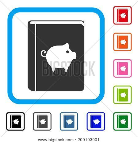 Pig Handbook icon. Flat gray iconic symbol inside a light blue rounded frame. Black, gray, green, blue, red, orange color versions of Pig Handbook vector. Designed for web and app UI.
