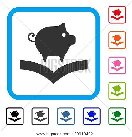 Pig Knowledge icon. Flat gray pictogram symbol inside a light blue rounded frame. Black, gray, green, blue, red, orange color additional versions of Pig Knowledge vector.