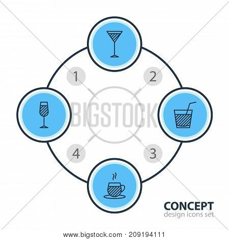 Editable Pack Of Tea Cup, Martini, Drink And Other Elements.  Vector Illustration Of 4 Drinks Icons.