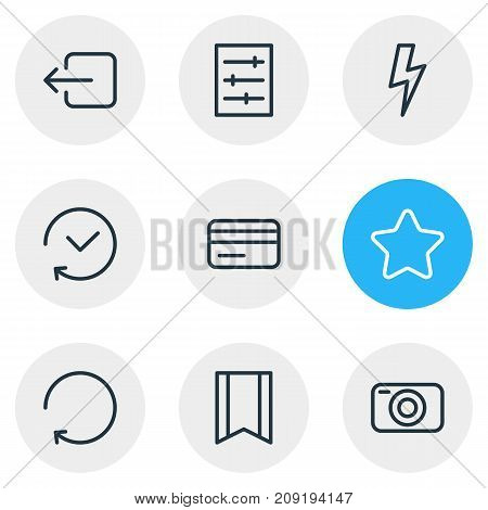 Editable Pack Of Exit, Reload, Rating And Other Elements.  Vector Illustration Of 9 App Icons.