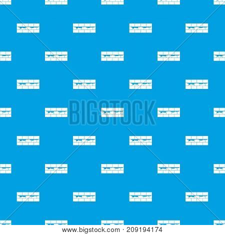 Brick wall pattern repeat seamless in blue color for any design. Vector geometric illustration