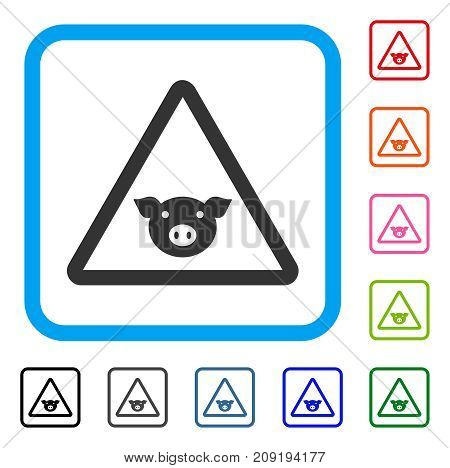 Pig Warning icon. Flat gray iconic symbol inside a light blue rounded square. Black, gray, green, blue, red, orange color additional versions of Pig Warning vector.