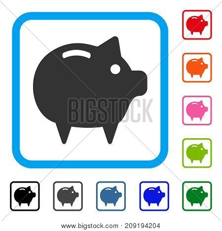 Piggy Bank icon. Flat gray iconic symbol in a light blue rounded rectangular frame. Black, gray, green, blue, red, orange color versions of Piggy Bank vector. Designed for web and software UI.