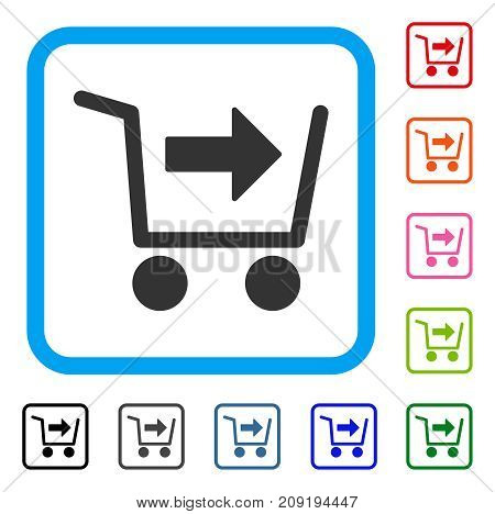 Purchase Cart icon. Flat gray iconic symbol inside a light blue rounded squared frame. Black, gray, green, blue, red, orange color versions of Purchase Cart vector.