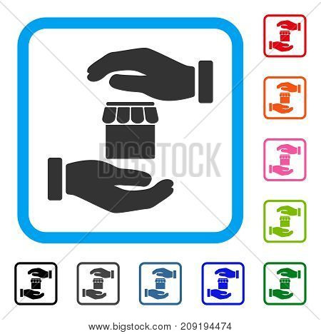 Real Estate Insurance Hands icon. Flat gray iconic symbol in a light blue rounded rectangle. Black, gray, green, blue, red, orange color additional versions of Real Estate Insurance Hands vector.