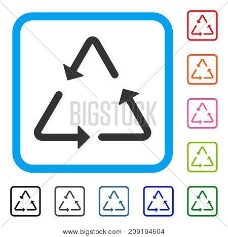 Recycling Triangle icon. Flat grey pictogram symbol inside a light blue rounded rectangle. Black, gray, green, blue, red, orange color versions of Recycling Triangle vector.