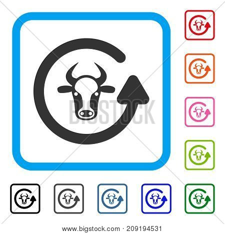 Refresh Bull icon. Flat grey pictogram symbol in a light blue rounded rectangle. Black, gray, green, blue, red, orange color additional versions of Refresh Bull vector.
