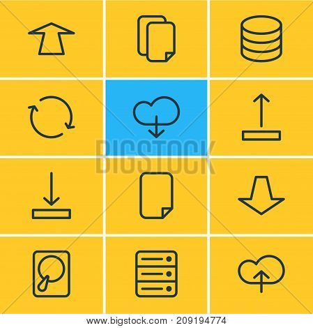 Editable Pack Of Documents, Upward, Arrow Up And Other Elements.  Vector Illustration Of 12 Archive Icons.