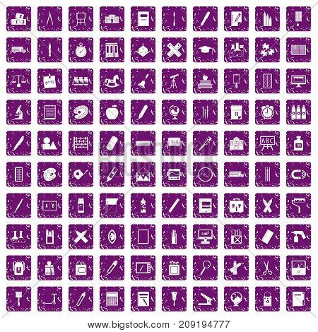 100 stationery icons set in grunge style purple color isolated on white background vector illustration